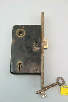 Victorian Brass Door Lock Antique Bolt Iron w/ Key Vintage Old #6