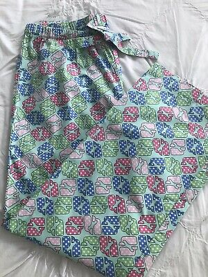 Vineyard Vines Women's Small Cotton Pajama Pants Lounge Bottoms Aqua Whale Print
