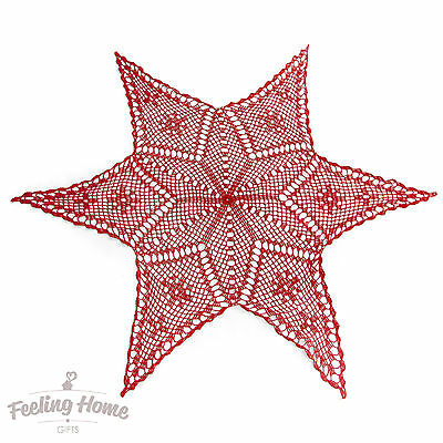 New Handmade Christmas Chrochet Doilies Lace Doily Table Cotton Red Star