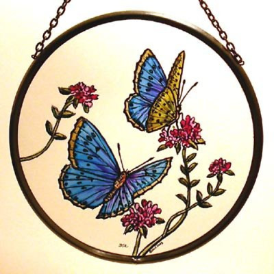 Decorative Hand Painted Stained Glass Window Sun Catcher/Roundel in a Blue