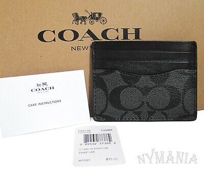 New Coach F58110 Signature Men's ID Card Case Wallet Charcoal/Black Gift Box