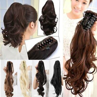 UK Real Long Ponytail Claw Clip In Pony Tail Hair Extension Hairpeice Curly Wavy