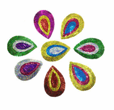 Peacock Eye Iron on Sew On Patch Sequin Applique Motifs #2