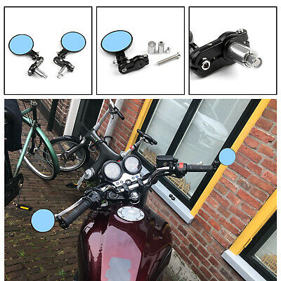 "UNIVERSAL 7/8"" Foldable Motorcycle CNC Bar End 3"" Round Mirrors Rear View Side C"
