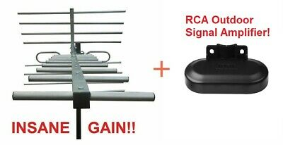 Amplified 250 Mile Vers HD TV Antenna + Includes Low Noise RCA Signal Booster