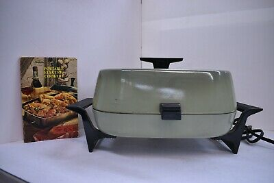 Vintage Sunbeam RC-35 Electric Skillet + cookbook tested and working.