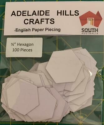 100 x 3/4 inch Hexagon's English Paper Piecing Laser Cut Papers Quilting Sewing
