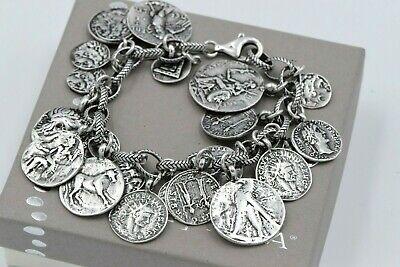 Silpada Ancient Roman Coin Cha-Cha Oxidized Sterling Silver Bracelet B1624 NICE!
