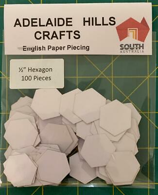 100 x 1/2 inch Hexagon's English Paper Piecing Laser Cut Papers Quilting Sewing