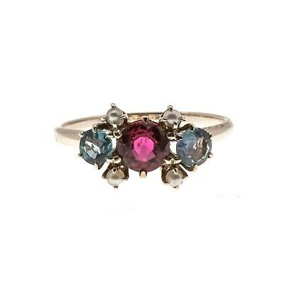 Jewels Of Rarity - Victorian 14K Red Spinel, Alexandrite & Pearl Ring