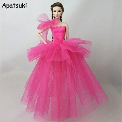 Pink Fashion Doll Dress For Barbie Doll Clothes Wedding Dresses For 1/6 Outfits
