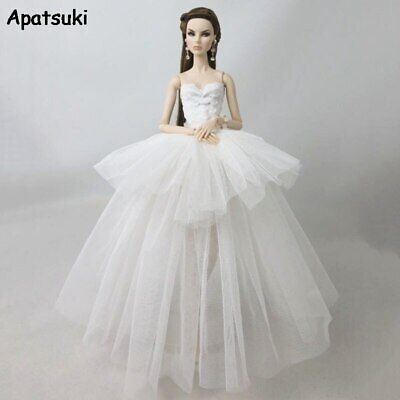 White Fashion Doll Clothes For Barbie Doll Dress 1/6 Dolls Accessories Outfits