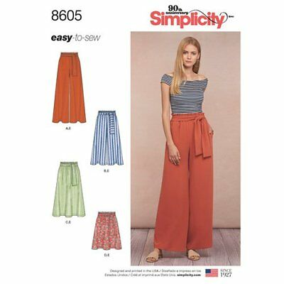 Simplicity Sewing Pattern 8605 Misses 6-24 Pull on Pants / Skirt Paper Bag Waist
