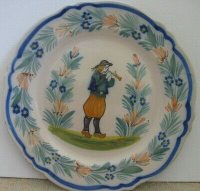 QUIMPER Brittany Breton France Henriot Signed tin glaze DISPLAY PLATE Man & HORN