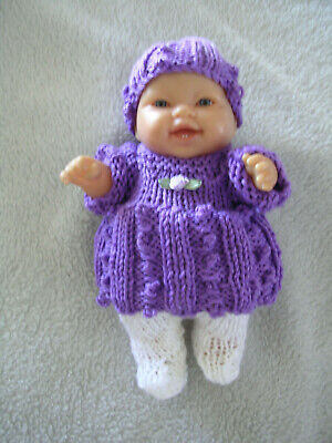 """Hand Knitted Doll Clothes  8"""" Chubby Berenguer Doll Or Similar. Purple & White"""