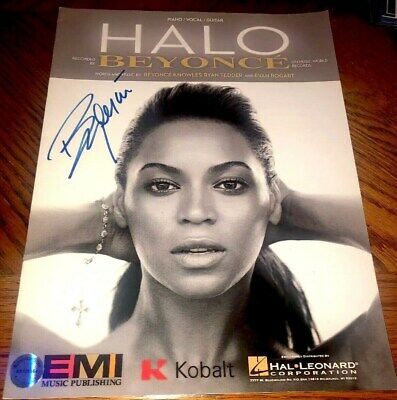BEYONCE KNOWLES Hand Signed AUTOGRAPH STUDIO SHEET MUSIC Song:HALO W/ Holo & COA