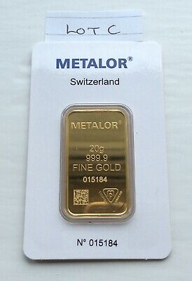 Metalor 20g minted gold bar - sealed in certified assay packet - Free P&P-Lot C