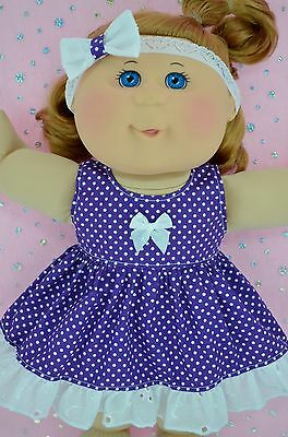 """Play n Wear Doll Clothes For 14"""" Cabbage Patch PURPLE POLKA DOT DRESS~HEADBAND"""