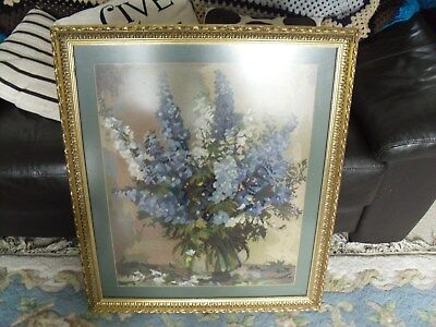 Large Wood Framed Glass Protected Tapestry / Embroidery of Flowers in Vase