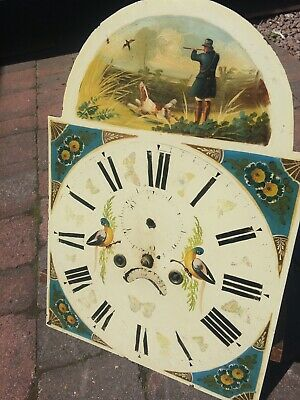 8 day LONGCASE GRANDFATHER CLOCK DIAL+movement 13X18 VERY PRETTY DIAL