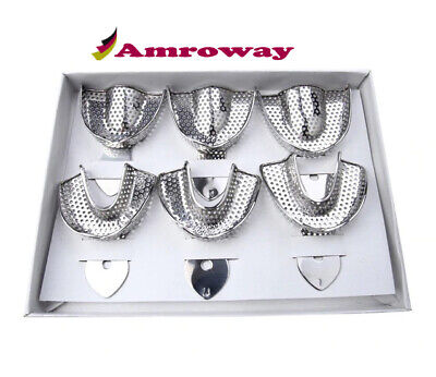 6 Dental Impression Tray set Solid Denture Instruments Impression trays S, M, L