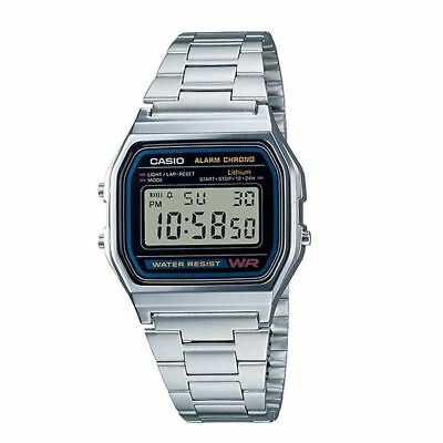 Genuine Casio Classic Retro Stainless Steel Bracelet Black Face Watch A158WA-1DF