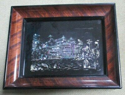 Antique Mother of Pearl Inlay Japanese Temple Framed Picture - Tiger Wood Japan