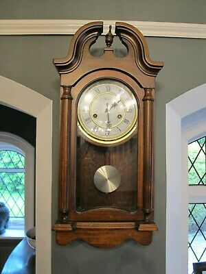 Reproduction London Wall Mounted Chiming Clock, Pendulum and key dark wood 31day