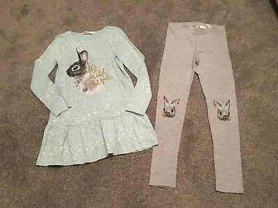 Girls H&M Mint Green And Grey Bunny Tunic Top & Leggings Outfit 8-10 Years