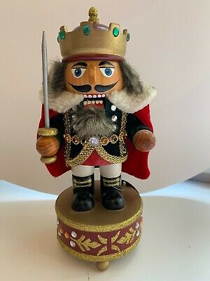 Christmas Wooden Nutcracker Soldier King Whith Music Box (Not Working)