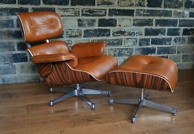 Classic Palisander & Tan Hide Lounge Chair & ottoman