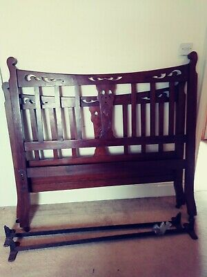 Antique Arts & Crafts carved solid oak double bed frame headboard and foot board