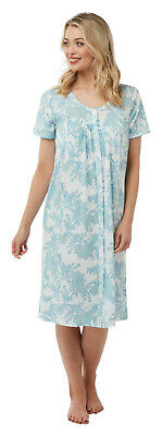 Ladies Floral Jersey Cotton Nightdress Womens Short Sleeved By Marlon NEW