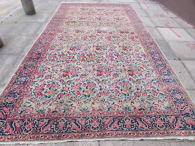 Antique Traditional Hand Made Persian Oriental Wool Blue Long Carpet 400x212cm