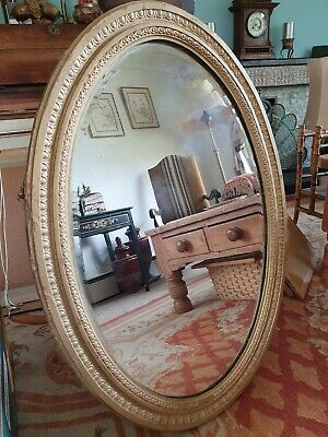 Oval Antique Gilt decorative Bevelled Mirror