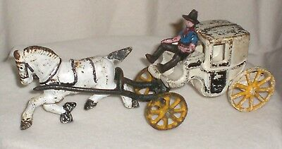 Vintage Cast Iron Horse Drawn Carriage With Cowboy Driver