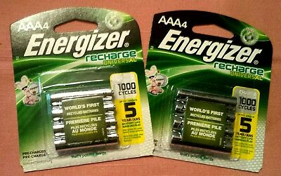 Two Four Packs Energizer AAA Rechargeable Universal Batteries