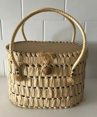 Vintage Woven wicker Straw Box Bag Vanity Case With Handles