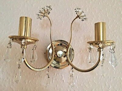PAIR Wall Lights, Antique, Brass and Crystal, French/Spanish/ Rare Find. 150)