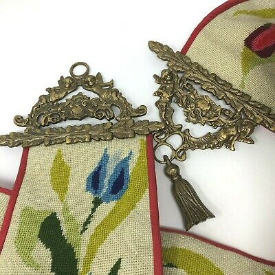 """Vintage Brass Bell Pull Needlepoint Wall Hanging Tapestry Tulip Design 67"""" Long"""