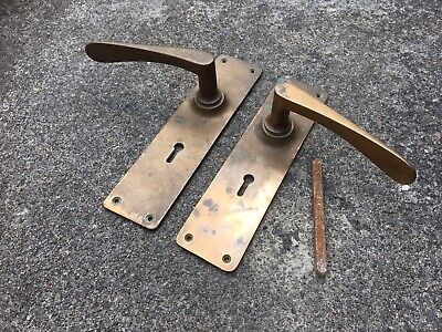 Antique Large Door Handles With Key Holes  Architectural Salvage Great Patina
