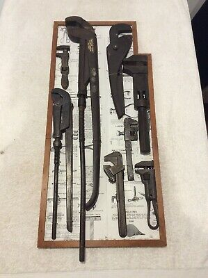Display Board Vintage Shifters And Spanners; Museum Piece; Old Tool; Collectable