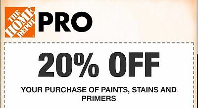 Home Depot 20% Off Paint Stains And Primers 1COUPON-Fast-InStore Exp 10+ Days