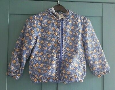 Little Dickins & Jones Girl Blue White Yellow Floral Showerproof Jacket Age 5-6
