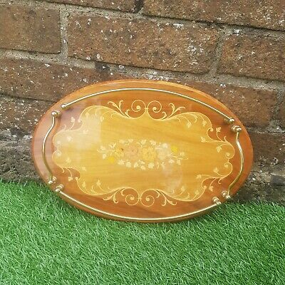 VINTAGE Wooden Drinks Tray Oval Inlay Italian Rail Cocktail Party Mid Century