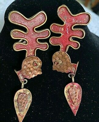 Vintage Late 40'S-Early 50'S Brass & Copper Face Mexican Screw Earrings