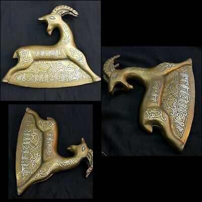 Beautiful Antique Bronze Hand Carved With Silver Inlay Egyptian Rare Deer Axe