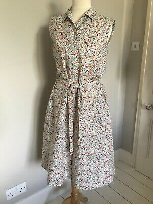 ae9d7f321504 LIBERTY of LONDON UNIQLO ditsy floral print linen mix DRESS XS fits like M  1950s