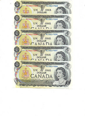 Dollar Bills Canada- Five Consecutive Crisp Uncirculated $1.00 Bills