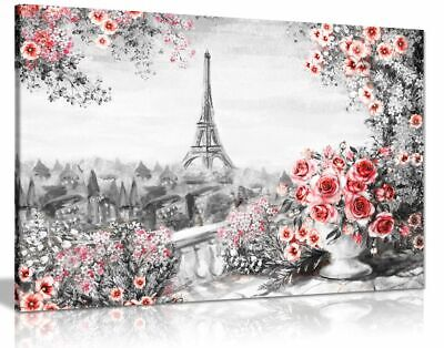 Paris Oil Painting Black White Red Roses Canvas Canvas Wall Art Picture Print